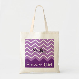 Chevron Personalized Wedding Party Tote (purple)