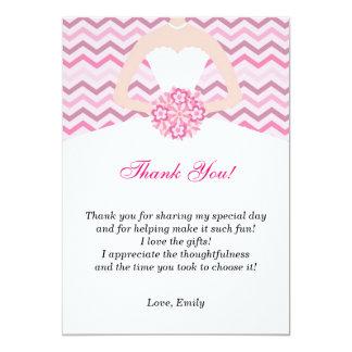 Chevron Pink Bridal Shower Thank You Card