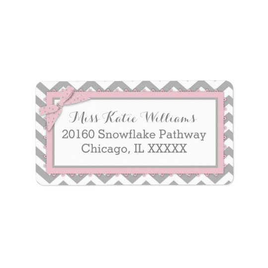 Chevron Pink Polka-dot Bow Baby Girl Label