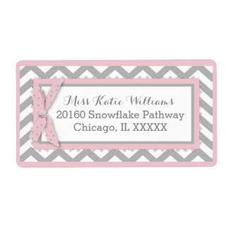 Chevron Pink Polka-dot Bow Baby Girl Label Shipping Label