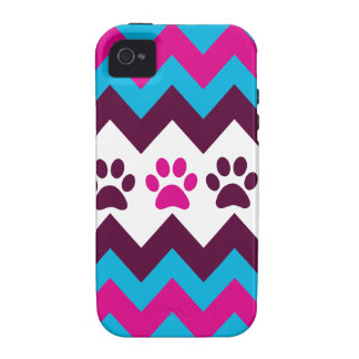 Chevron Pink Teal Puppy Paw Prints Dog Lover Gifts iPhone 4/4S Cases