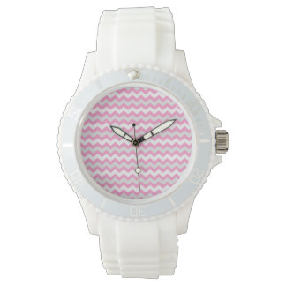 Chevron Pink White and Gray Zig Zag Pattern Watch