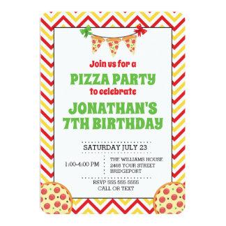 Chevron Pizza Party Invitation