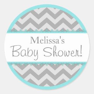 Chevron Print & Aqua Contrast Baby Shower Classic Round Sticker