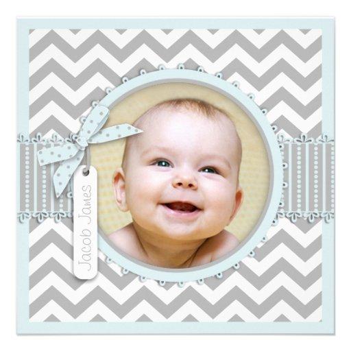 Chevron Print Baptism Invitation Photo Card SQ-BL