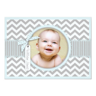 Chevron Print Birth Announcement Photo Card A7-BL