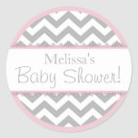 Chevron Print & Pink Contrast Baby Shower Stickers