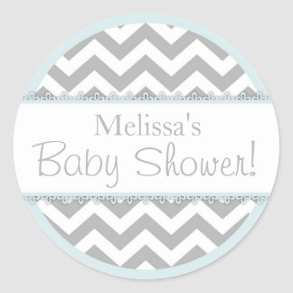 Chevron Print & Powder Blue Contrast Baby Shower Classic Round Sticker