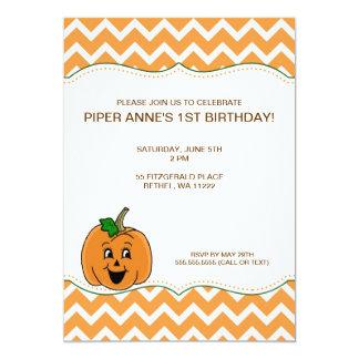 "Chevron Pumpkin Baby Shower Birthday Party Invite 5"" X 7"" Invitation Card"