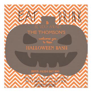 Chevron Pumpkin Halloween Party Custom Invitation