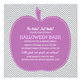 Chevron Purple Pumpkin Halloween Party Invite
