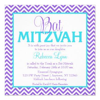 "Chevron Purple Teal Blue Bat Mitzvah Invitation 5.25"" Square Invitation Card"