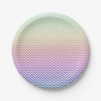 Chevron Rainbow 7 Inch Paper Plate