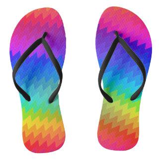 Chevron rainbow flip flops