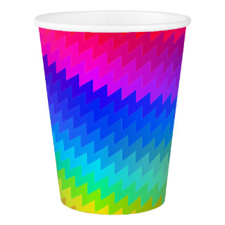 Chevron rainbow paper cup