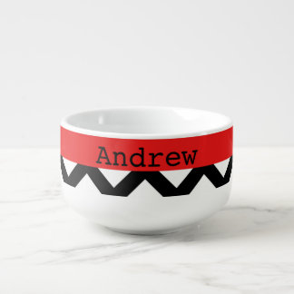 Chevron Red Black and White Soup Mug