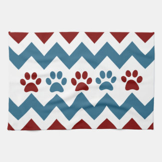 Chevron Red Blue Puppy Paw Prints Dog Lover Gifts Kitchen Towel