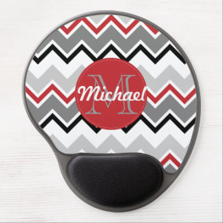 Chevron Red Grey Black Monogrammed Circle Stitches Gel Mouse Pad