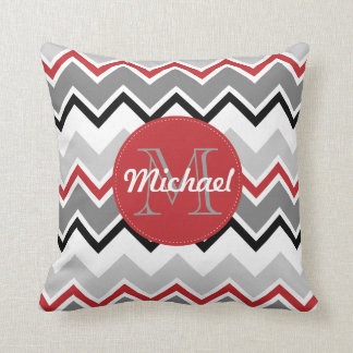 Chevron Red Grey Black Monogrammed Circle Stitches Throw Pillow