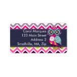 Chevron Retro Groovy Owl Personalized Address Labels