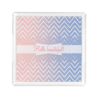 Chevron rose quartz serenity personalized text serving tray