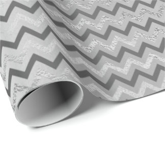 Chevron Silver Gray  Stripes Lines  Zig Zag Lux Wrapping Paper