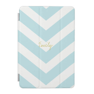 Chevron Stripe Blue iPad Mini Cover Personalized