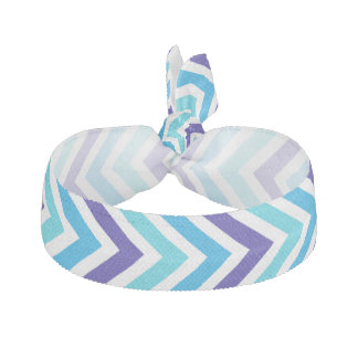 Chevron Stripe Hair Tie Ribbon Blue