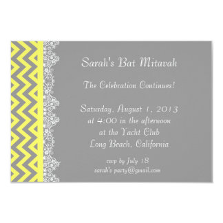 """Chevron Stripe - yellow  Invitation - insert 3.5"""" X 5"""" Invitation Card"""