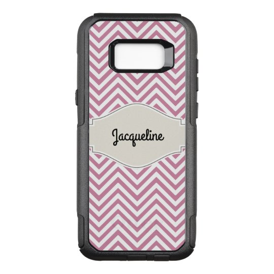 Chevron Striped Pattern Pink White w Your Name OtterBox Commuter Samsung Galaxy S8+ Case