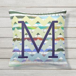 chevron stripes + abstraction + monogram, cool throw pillow