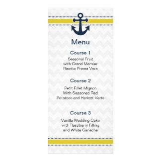 chevron stripes, anchor, nautical menu cards
