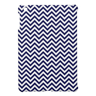 Chevron Stripes Background // Navy Blue Denim Cover For The iPad Mini