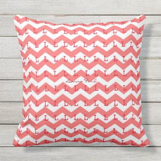chevron stripes & initials pattern coral throw pillow
