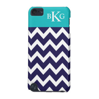 Chevron Stripes & Monogram | Navy Teal iPod Touch (5th Generation) Covers