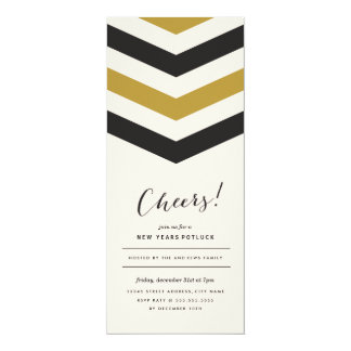 Chevron Stripes New Years Invite