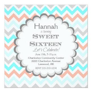Chevron Sweet Sixteen Birthday Invitation