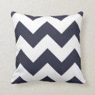 Chevron Throw Pillow with Navy Blue Zigzag
