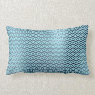 Chevron Tiffany Navy Blue Aqua Metallic Zig Zag Lumbar Pillow