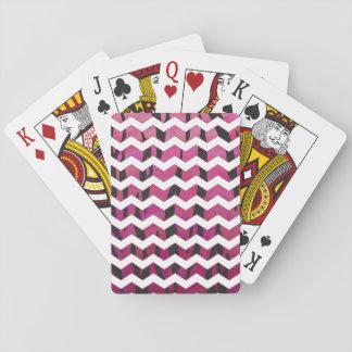 Chevron Tiger Hot Pink and Black Print Poker Deck