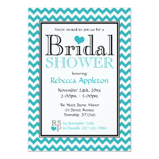Chevron Turquoise & White Bridal Shower Invitation