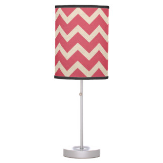 Chevron watermelon pink table lamp