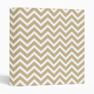 Chevron Wavy Stripes in Christmas Gold & White Vinyl Binders