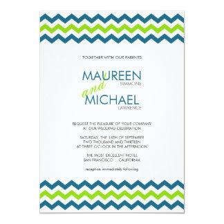 Chevron Wedding ZigZag Blue and Lime Invitations