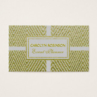 Chevron White and Gold Business Card