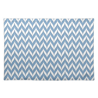 Chevron Wing Striped Pattern Hydrangea Blue Placemat