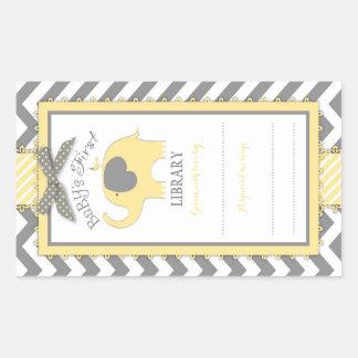 Chevron Yellow Elephant Book Plate Label