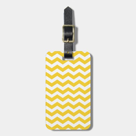 Chevron Yellow Stripes Zigzag Pattern Luggage Tag