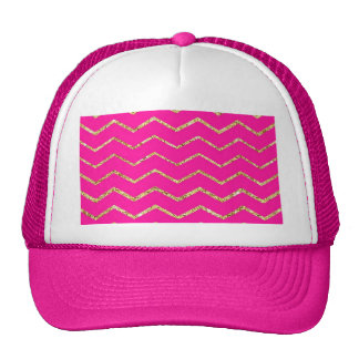 chevron zig zag happy pink gold glitter pattern trucker hat