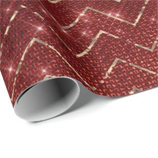 Chevron Zig Zag Honey Burgundy Red Gold Stripes Wrapping Paper